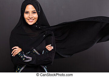 stylish Muslim woman on black background