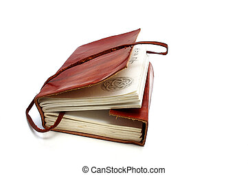 Old leather book - Old leather-bound book with parchment...