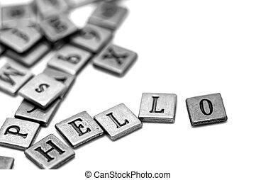 Metal scrapbooking letters spelling Hello