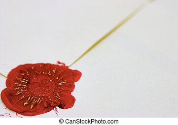 Signet, red wax and envelope - Signet stamped in red wax and...