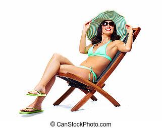 mujer, relajante, playa