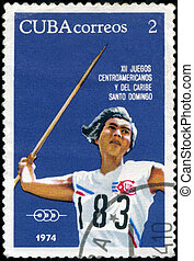CUBA-CIRCA 1974 : A post stamp printed in Cuba shows Javelin, series 12th Central American and Caribbean Games, Santo Domingo, circa 1974