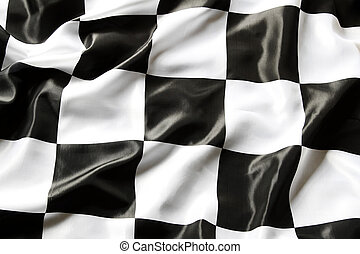 Checkered flag - Checkered black and white flag closeup