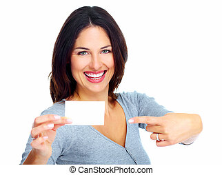 Woman with a card. Isolated on white background.