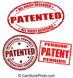 Set of patented stamps - Set of patented grunge rubber...