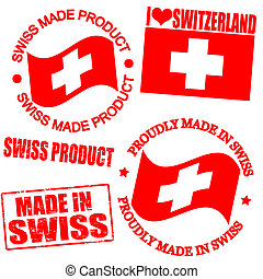 Product of Swiss stamps - Set of stamps and labels with the...