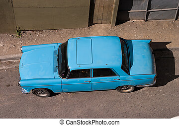 An old car in Southamerica top view