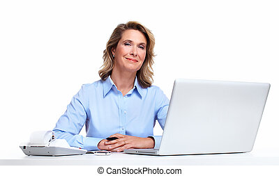 Business woman with a laptop computer. - Accountant business...