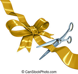 Gold Ribbon Cutting - Gold ribbon with bow cutting with a...