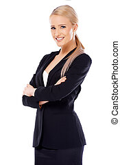 Cute blond business woman on white - Cute smiling blond...