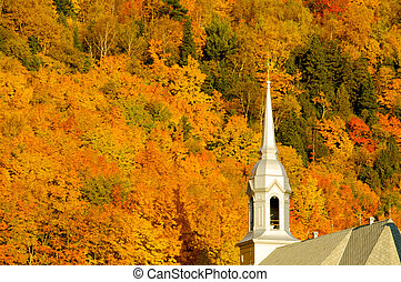 Fall landscape - Church in a fall landscape