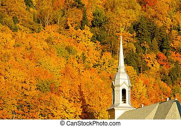 Fall landscape - Church in a fall landscape