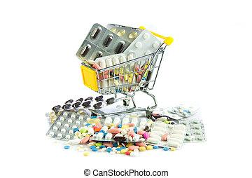 shopping cart full of pills isolated on white Shopping cart...