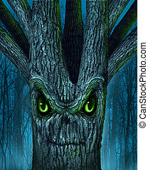 Haunted Tree - Haunted tree with a mythical dark forest and...