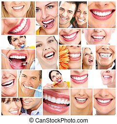 Beautiful woman smile Dental health care collage