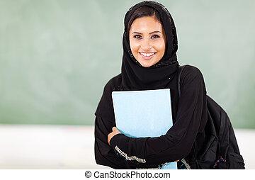 femme, milieu, oriental, collège, ÉTUDIANT