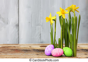 Easter eggs - Cute photo with easter eggs and daffodils