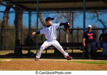 Juventud, beisball, cántaro, viento, Arriba