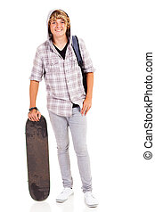happy teen boy with skateboard isolated