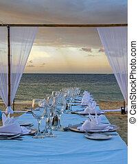 Tropical wedding place setting 37 - Exterior place setting...