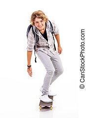 Adolescente, niño, blanco, aislado, el skateboarding
