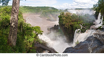 The Iguacu falls in Argentina Brazil in the middel of the...