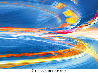 Abstract background, speed motion in urban highway road tunnel, blurred motion toward the light. Computer generated blue futuristic illustration.