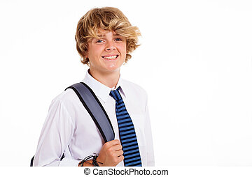 teen high school student - happy male teen high school...