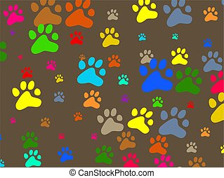 paw wallpaper - Decorative colourful animal paw print...
