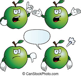 Angry apple set - Collection of angry apples with various...
