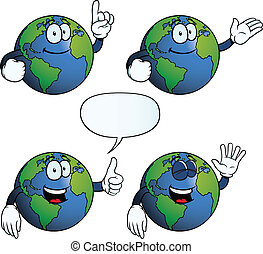 Smiling Earth globe set - Collection of smiling Earth globes...