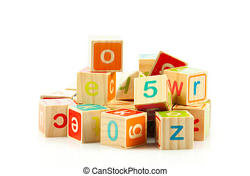 wooden toy cubes with letters. Wooden alphabet blocks. -...