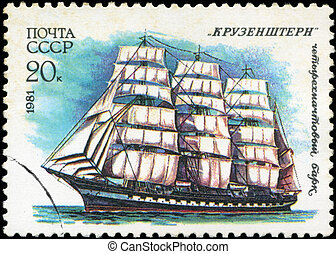 USSR- CIRCA 1981: a stamp printed by USSR, shows russian...