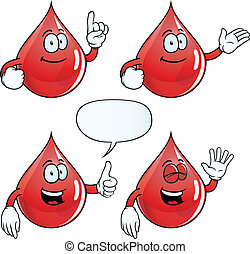 Smiling blood drop set - Collection of smiling blood drops...