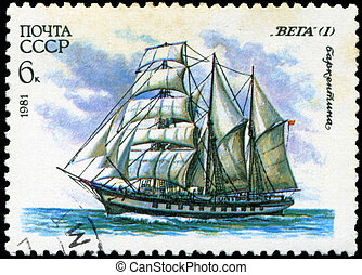 "USSR- CIRCA 1981: a stamp printed by USSR, shows  russian sailing barquentine  "" Vega (1)"", series, circa 1981."