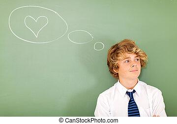 teenage boy thinking about love - good looking teenage boy...