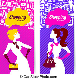 Banners with silhouette of shopping women