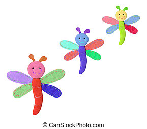 Dragonfly Soft Toys on White Background