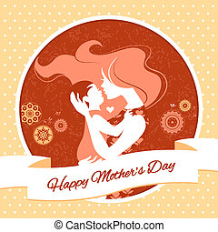 Happy Mothers Day Card with beautiful silhouette of mother...