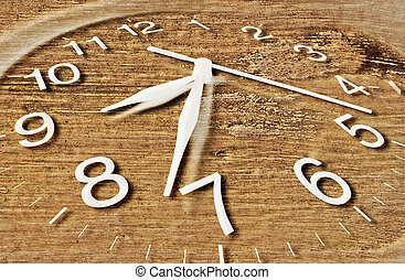Clock with Wooden Texture - Close Up of Clock with Wooden...