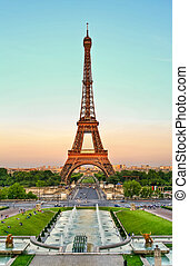 Eiffel tower Paris - Eiffel tower and Trocadero, Paris,...