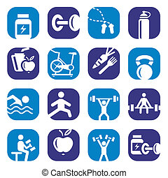 color bodybuilding icons set - Elegant Colorful Fitness...