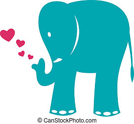 Vector image of an elephant and heart on a white background