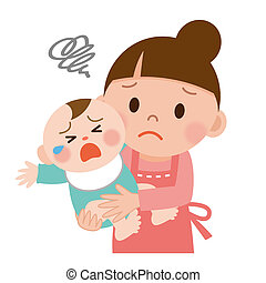 Mom and baby - Mother trying to calm her crying baby
