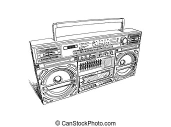 Oldschool boombox on white background