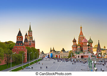 Red square, Moscow at sunset - Red square, Moscow (Russia)...