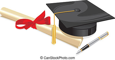 university degree college greeting - traditional hat with...