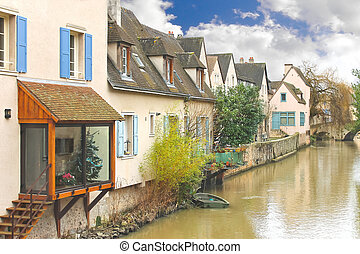 Houses on the river in Chartres. France