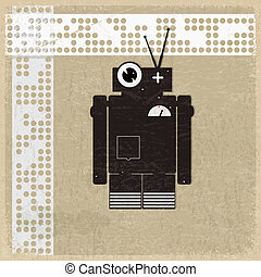 Vintage background with the silhouette of a robot