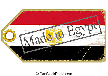 Vintage label with the flag of  Egypt